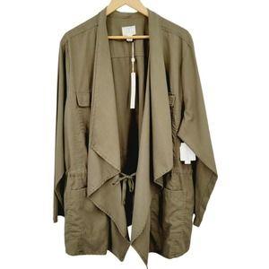 Caslon Draped Front Utility Jacket Olive Plus Size
